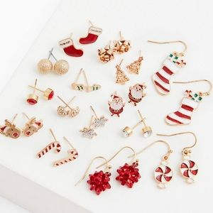 🆕🌟HP🌟Red & White Holiday Earrings Set Christmas